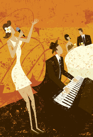 nightclub bar: Club Singer Illustration
