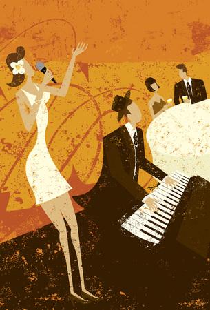 jazz men: Club Singer Illustration