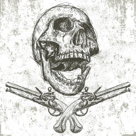 calavera pirata: Cráneo y pistolas Vectores