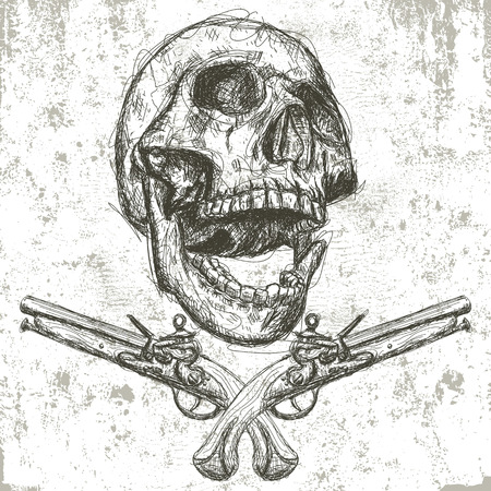 rough: Skull and pistols Illustration