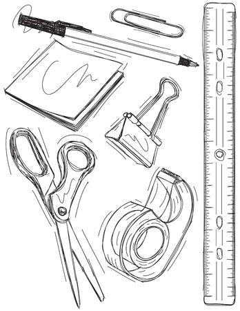 ruler: Office supply sketches Illustration