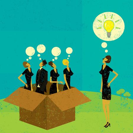 pensamiento creativo: pensar más allá Vectores