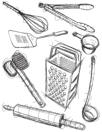 cooking utensils: Kitchen utensil sketches Illustration