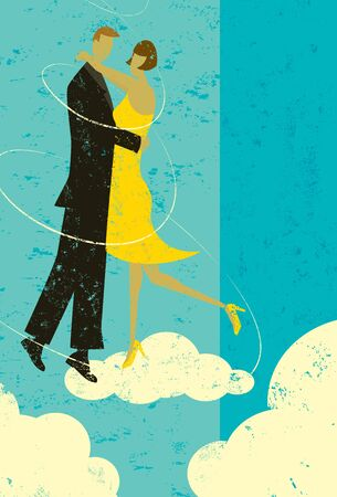 on cloud nine: Cloud nine couple A couple embracing in the clouds. Illustration