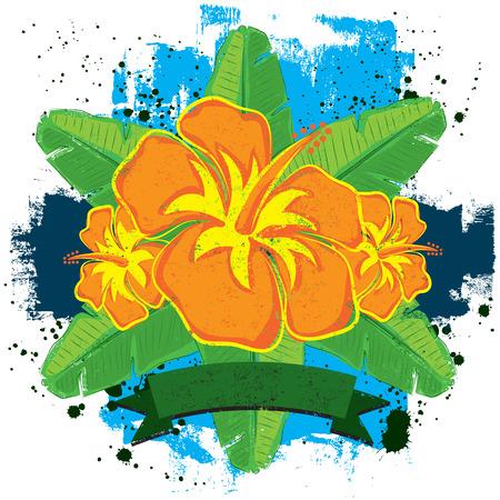 banana leaf: Hibiscus and Banana Leaf Insignia Illustration