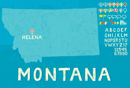 thumb tack: Map of Montana with icons Illustration