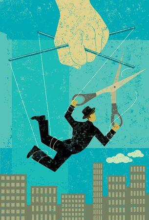 Ontsnappen aan een controlerend baas Stock Illustratie