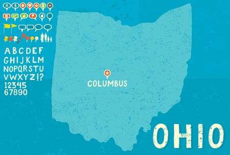 thumb tack: Map of Ohio with icons