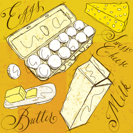 dairy products: Dairy products with calligraphy Illustration