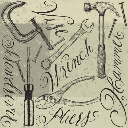 herramientas de construccion: Construction tools with calligraphy
