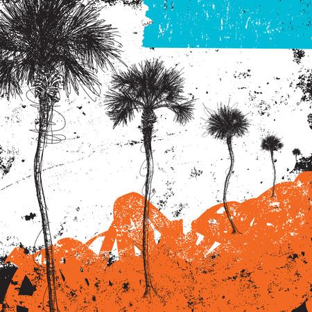 tree line: Palm tree row Illustration