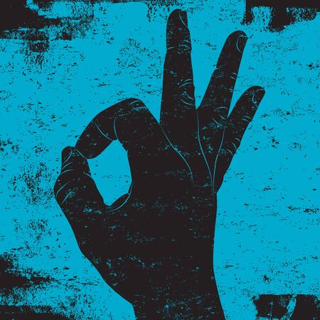 comunicacion no verbal: Signo de mano OK  Vectores