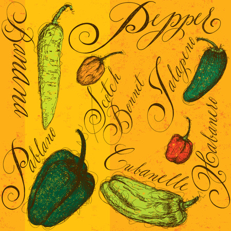 scotch: Chili peppers with calligraphy