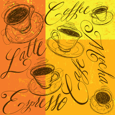 expresso: Coffee cups with calligraphy