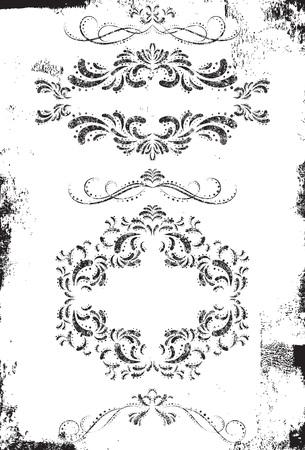 ornate frame: Scroll design elements Illustration