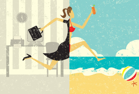 beach: Transition to Vacation Illustration
