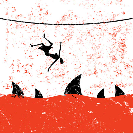 tightrope walker: Falling from a Tightrope Illustration
