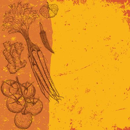 ginger root: Mixed Vegetables Illustration