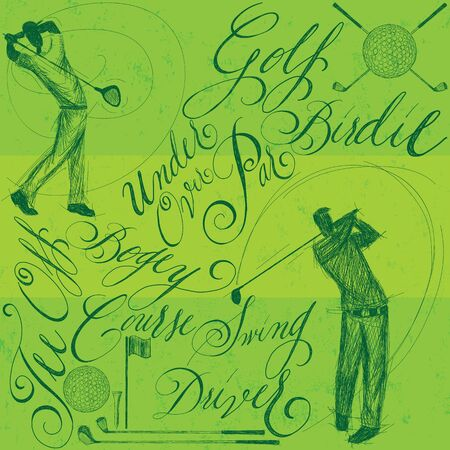 golfer swinging: Golfers with calligraphy