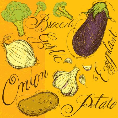 Mix di verdure con la calligrafia Archivio Fotografico - 49924610
