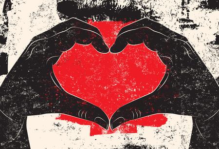 heart sign: Hands making heart sign Illustration