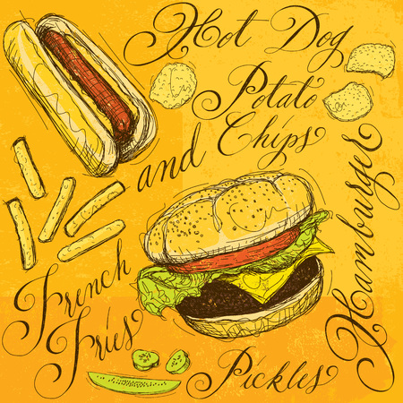 american cuisine: Fast food with calligraphy Illustration