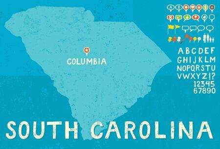 south carolina: Map of South Carolina with icons Illustration