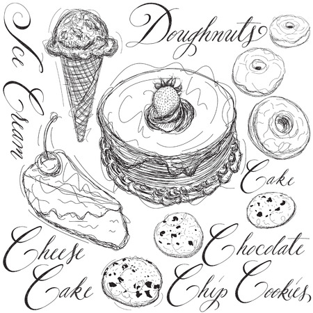 sketch drawing: Dessert sketches with calligraphy Illustration