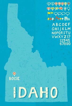 idaho: Map of Idaho with icons