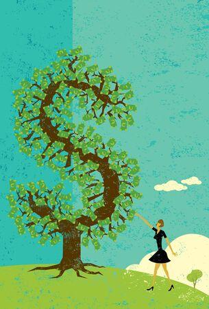 Businesswoman with a money tree Illusztráció