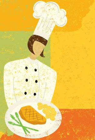 gourmet meal: Gourmet Chef Illustration
