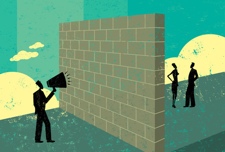 Shouting at a brick wall Stock Illustratie