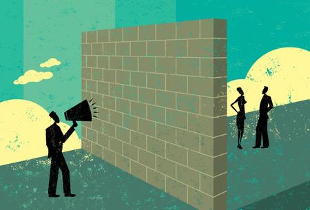 business communication: Shouting at a brick wall Illustration