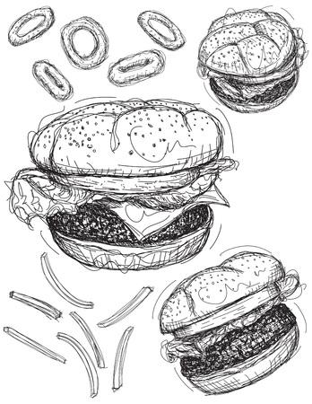 cebolla: bocetos de hamburguesa