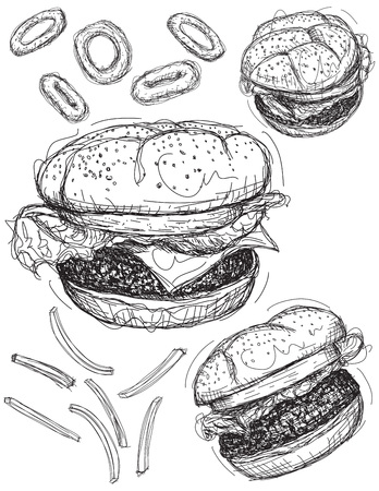 onion rings: Hamburger sketches