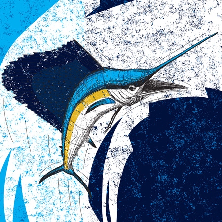 pez vela: pez volador que salta