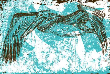 water bird: Flying Pelican