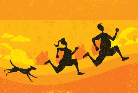 Overweight runners 向量圖像