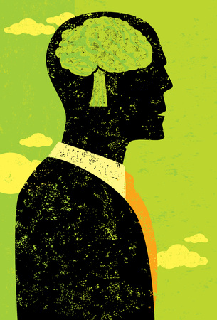 conscious: Businessman thinking green A businessman using his brain, shaped as a tree, to think first in environmentally conscious ways. The man and the background are on separate labeled layers.