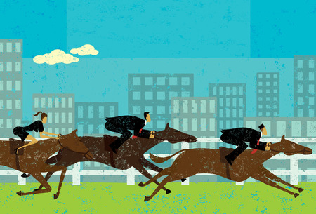 advancement: Business people horse racing Illustration