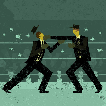 individual sports: Businessmen boxing match Illustration