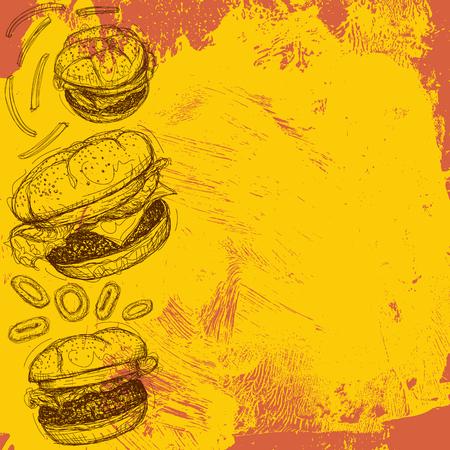american cuisine: Hamburger background Illustration