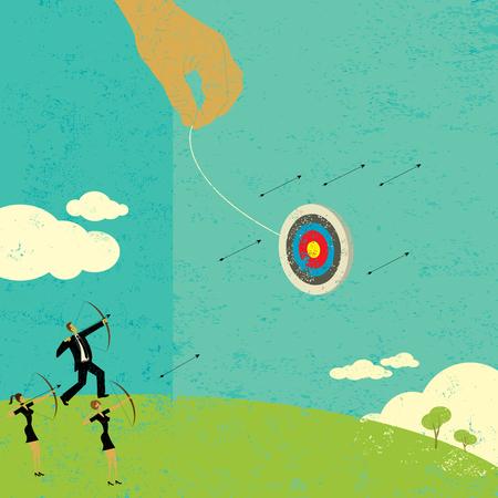 Proberen om een bewegend doel te raken Vector Illustratie