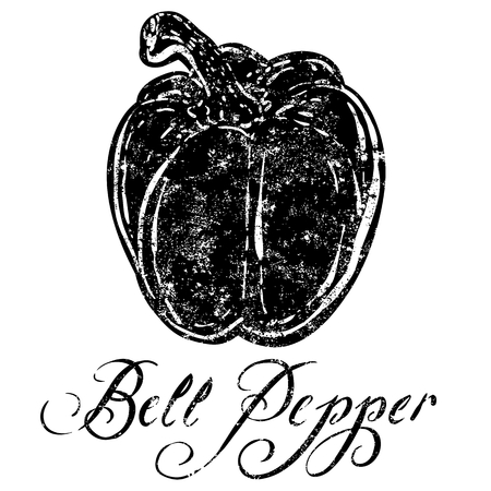 organic peppers sign: Asparagus A textured Bell pepper icon.