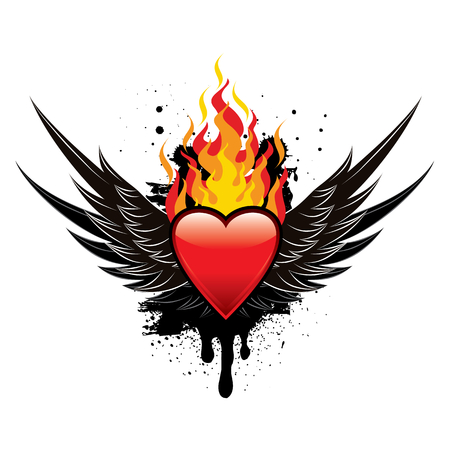 heart in flame: Flaming Heart Wings Illustration