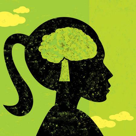 thinking woman: Woman thinking green