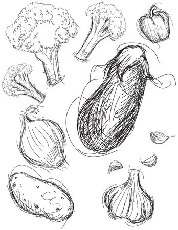 Groente medley schetsen Stock Illustratie