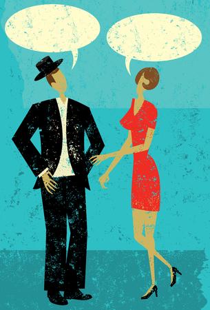 talking: Couple Talking Illustration