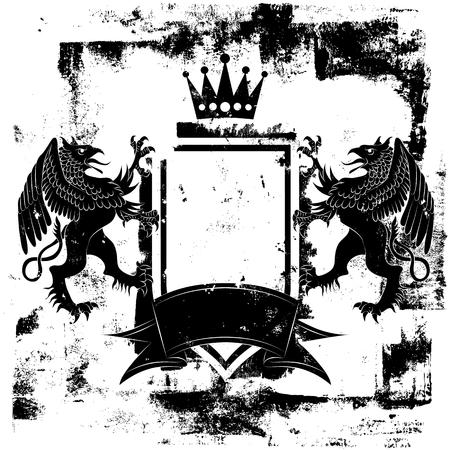 griffin: Black Griffin Coat of Arms Illustration