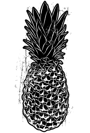 Woodcut Style Pineapple